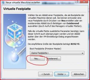 Festplatte anlegen