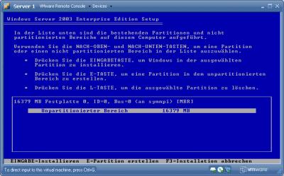 Server 2003 setup