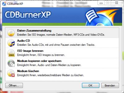 CDBurnerXP Brennprogramm ISO Tool