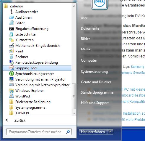 Windows 7 Screenshot-Tools Free - psr exe und Snipping Tool