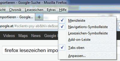 Firefox-lesezeichen - Menü