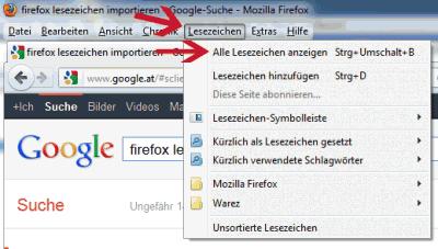 Firefox - Lesezeichen