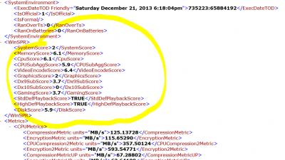 Windows-Leistungsindex XML Werte