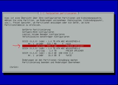 Debian-Raid FREIER SPEICHER