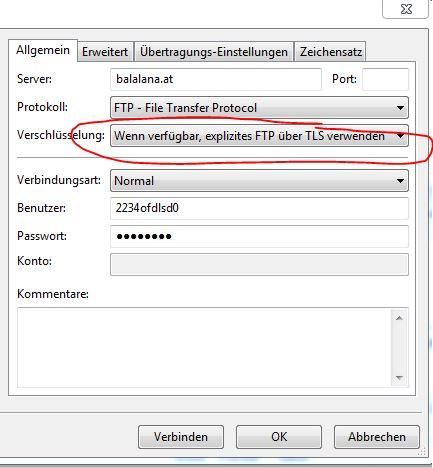 Verschlüsselung: Wenn verfügbar, explizites FTO über TLS verwenden