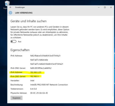 Windows 10 Netzwerkadresse anzeigen