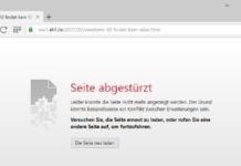 Opera Browser Seite abgestürzt