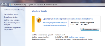 Windows 7 Update funktioniert nicht